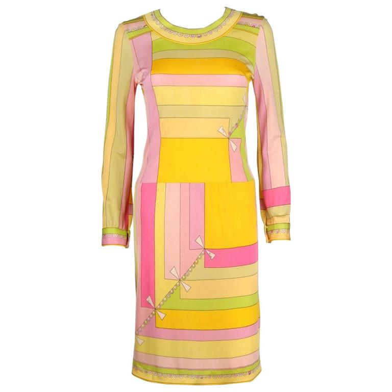 EMILIO PUCCI c.1960s Multicolor Geometric Signature Print Silk Jersey Dress