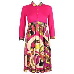 EMILIO PUCCI 1960s Magenta Op Art Signature Print Cashmere Empire Waist Dress