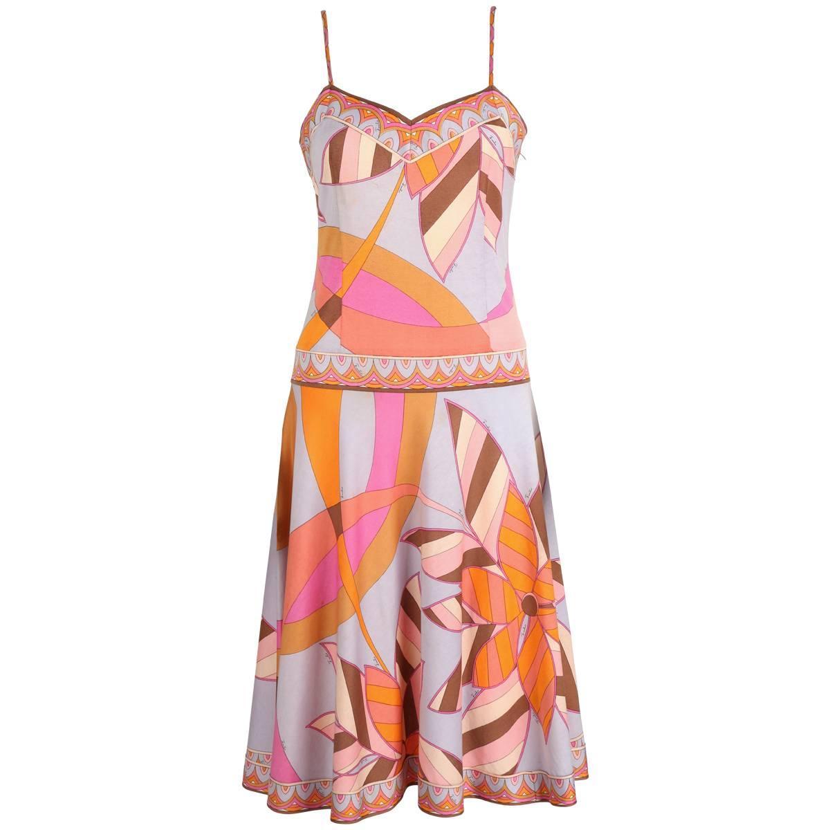 EMILIO PUCCI c.1970s Multicolor Floral Print Cotton Jersey Drop Waist Sundress