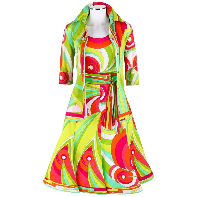 EMILIO PUCCI 1970s 3 Piece Multicolor Signature Print Halter Top Shirt Skirt Set For Sale