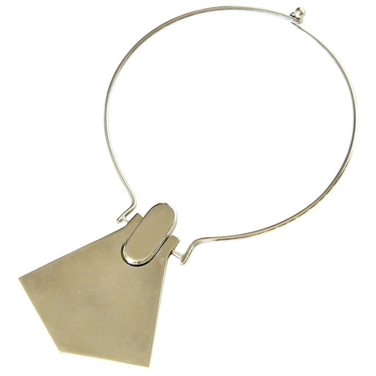 Modernist Sterling Necklace with Geometric Pendant For Sale