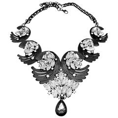 Dramatic Black and Crystal Drop Necklace