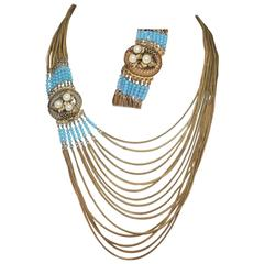Victorian Fringed Faux Turquoise And Faux Pearl Necklace Set