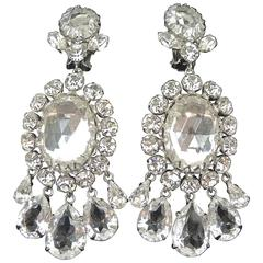 Wow! Vintage 1950s Dramatic Clear Crystal Clip Earrings