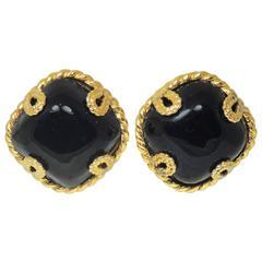 Vintage Dominique Aurientis Faux Onyx Dome Earrings
