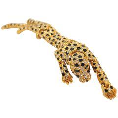 Vintage Leopard Clear Rhinestone & Black Enamel Brooch
