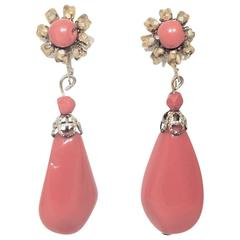 Vintage 1950s Signed Miriam Haskell Faux Coral Teardrop Clip Earrings