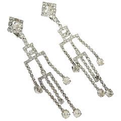 Long Shoulder Deco Duster Rhinestone Clip Earrings