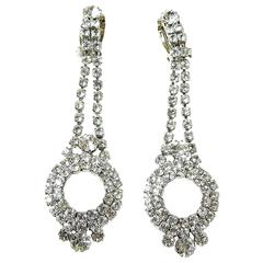 Vintage Rhinestone Deco Style Chandelier Clip Earrings