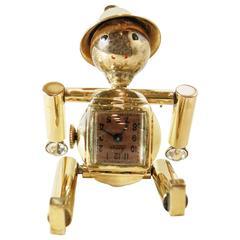 Vintage 1930s Whimsical Tin Man Working Watch Pin