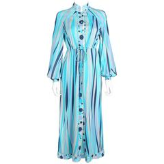 EMILIO PUCCI 1960s Formfit Rogers 2pc Blue Signature Print Maxi Dress Lounge Set