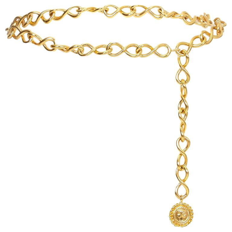 1980s Gold Chain Chanel Chain Coco Medallion Belt