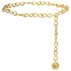 1980s Gold Chanel Chain Coco Medallion Belt
