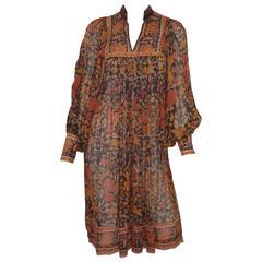 Ritu Kumar for Judith Ann 1970s Hand Block Printed Silk Dress