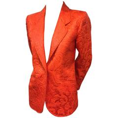 1970s Saint Laurent - Rive Gauche Orange Matelassé Jacquard Dinner Jacket