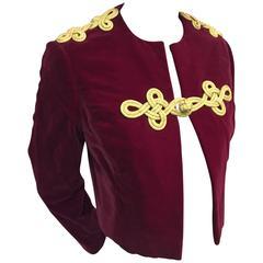 1960s Bill Blass Burgundy Velvet Jacket w Gold Braid Epaulets and Closure