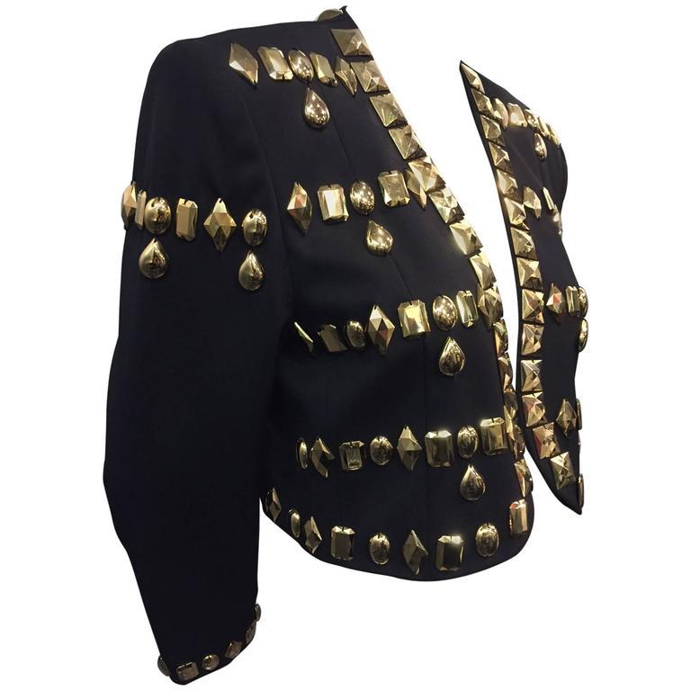 1980s Escada by Margaretha Ley Black Wool Gabardine Jacket w Gold Resin Studding