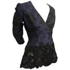 Oscar de la Renta Navy and Black Brocade Jacket w Peplum and Cut-Out Lace