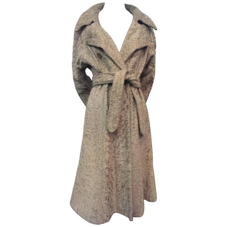 1960s Montaldo's Blonde Astrakan Broadtail Trench Coat w Leather Trim