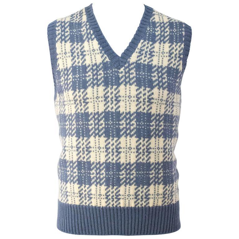 70s Bill Blass Blue & Cream Plaid Sweater Vest
