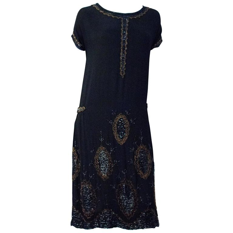 9cfc701241 20s Black Silk Drop Waist Dress with Gold and Green Beading For Sale ...