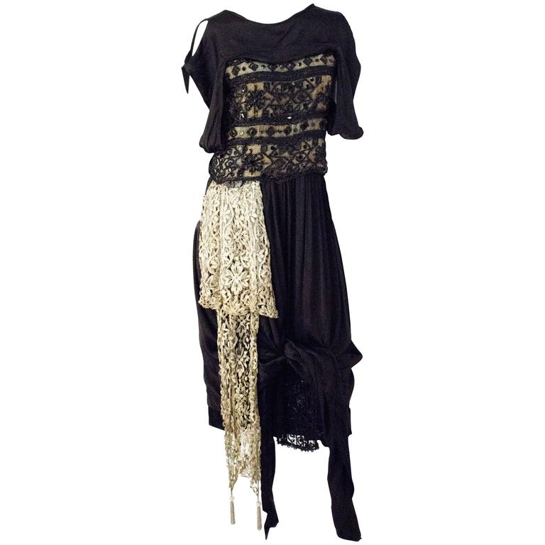 Edwardian Black Silk Evening Gown with Silver Lamé Lace & Beading 1