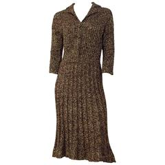 40s Brown & Gold Knit Sweater Dress