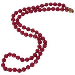 50s Miriam Haskell Red Glass Bead Necklace