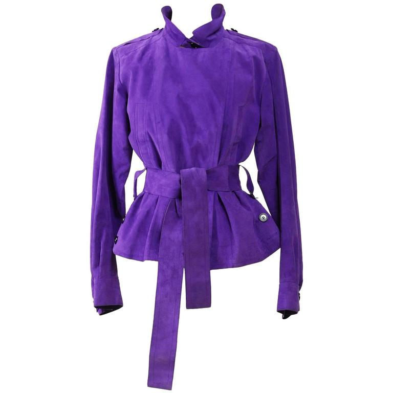 YVES SAINT LAURENT Rive Gauche Purple Suede Leather Jacket For Sale