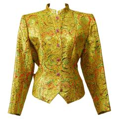 1990s YVES SAINT LAURENT Arabesque Print Golden Lurex Jacket