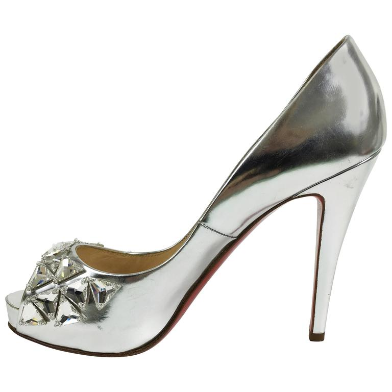 CHRISTIAN LOUBOUTIN Silver Leather Rhinestones Peep Toe Pumps Shoes 1