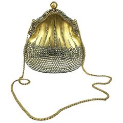 "JUDITH LEIBER Minaudière ""Chatelaine"" 1967 Brushed Gold and Svarovsky Purse"
