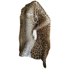 Yves Saint Laurent by Tom Ford Silk Chiffon Leopard Print Poncho
