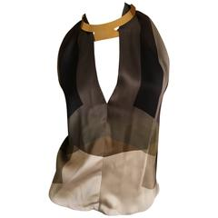 Gucci by Tom Ford Geometric Pattern Silk Top with Attached Golden Necklace