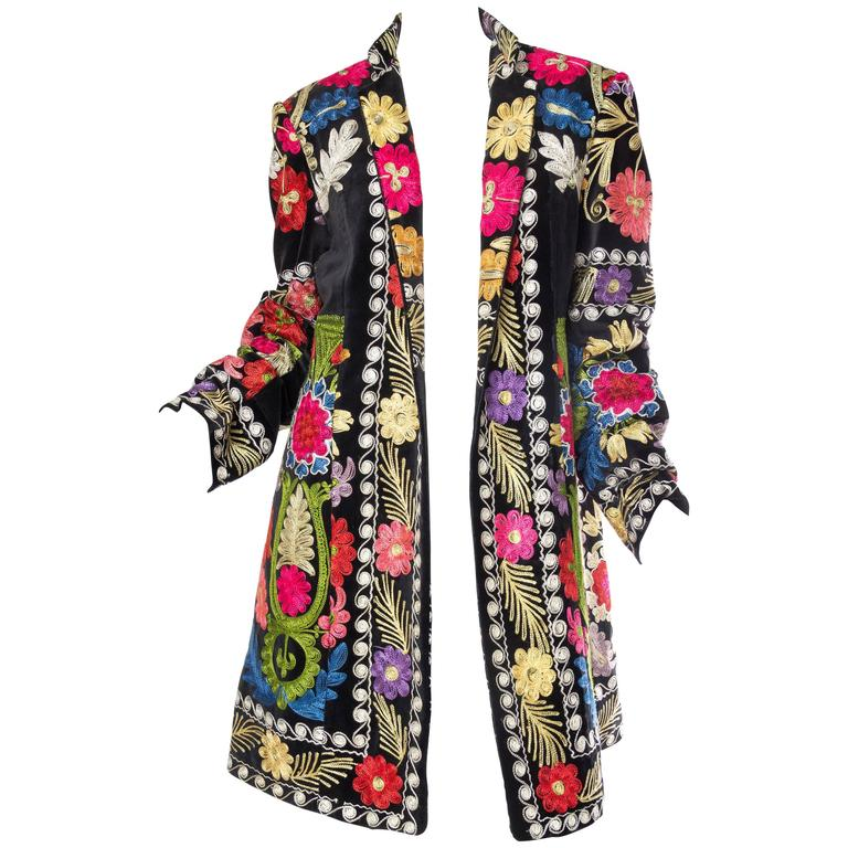 1960s Embroidered Velvet BoHo Coat For Sale