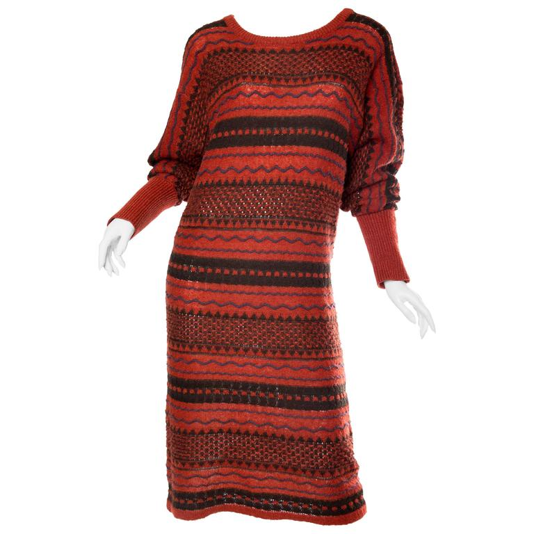 Rare Early Issey Miyake 1970s Knit Sweater Dress For Sale
