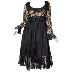 1960s Empire Waist Chantilly Lace Dress