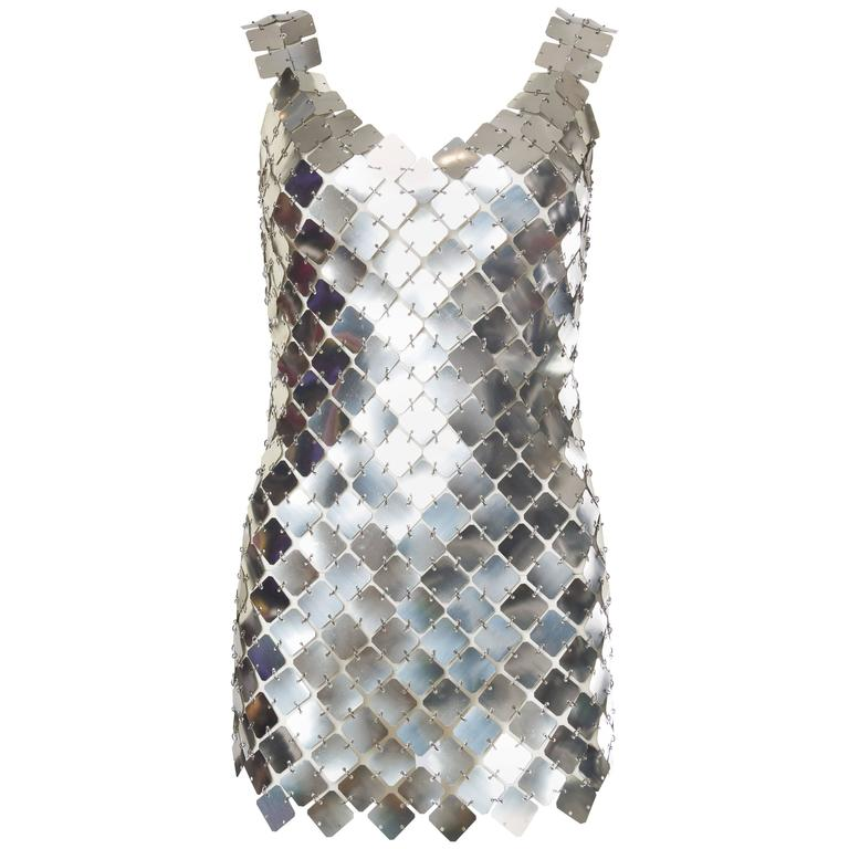 Paco Rabanne Attributed Silver Disk Dress 1