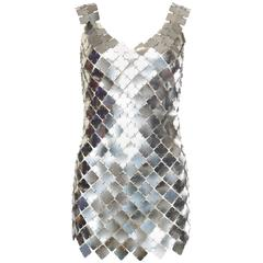 Paco Rabanne Attributed Silver Disk Dress