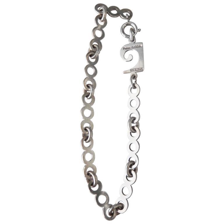 1970s Pierre Cardin Sterling Silver Link Bracelet E Age For