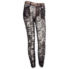 "Jean Paul Gaultier Sheer Chantilly Lace ""Jeans"""