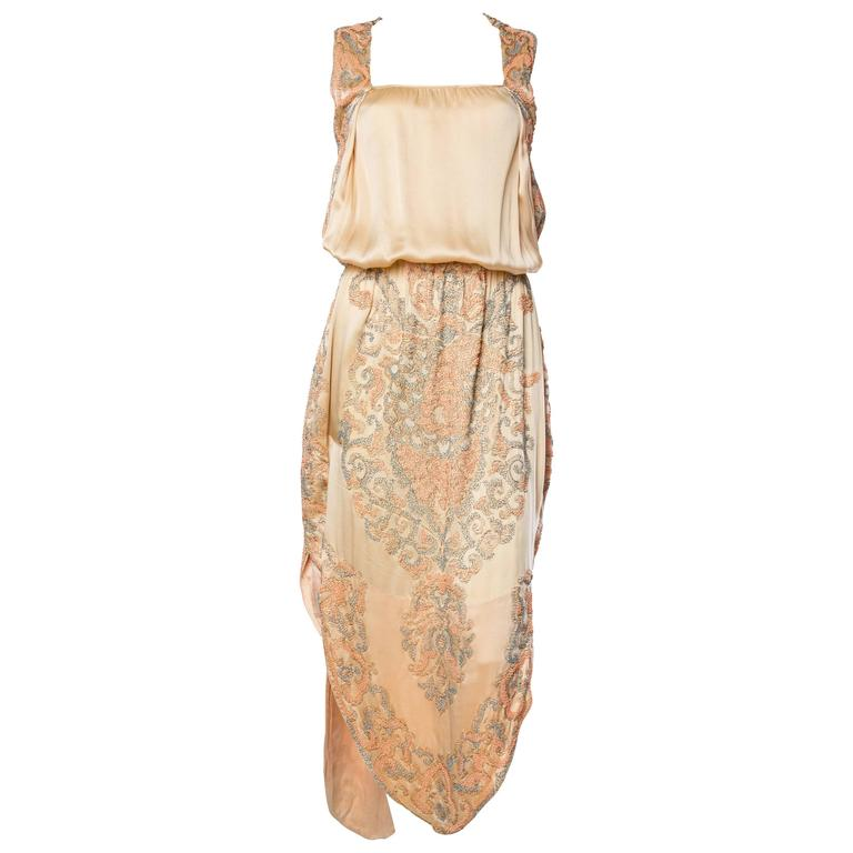 Late Edwardian Beaded Silk Dress