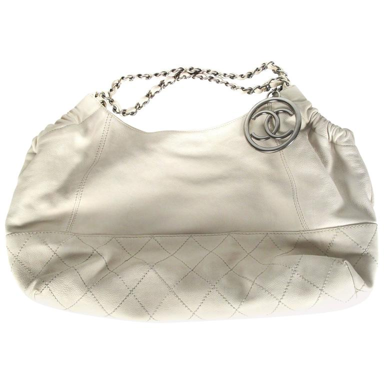 Chanel Leather Handbag White Quilted Silver Cc Charm