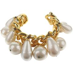 Chanel Giant Pearl Chain Cuff XL Rare Gold Charm Bangle Bracelet Bead CC Vintage