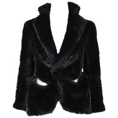 Junya Watanabe Comme des Garcons Black Faux Fur Sheer Panel Boxy Jacket SZ Small