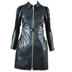 Junya Watanabe Comme des Garcons Black Faux Leather Ribbed Zip Trench Coat SZ XS
