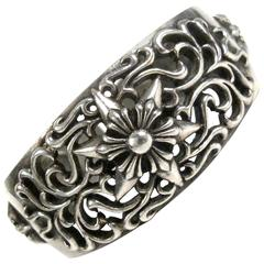 Chrome Hearts Bracelet Cuff - Sterling Silver Star Cut Out Bangle Womens
