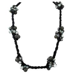 Brunello Cucinelli Necklace - New - Black Rope Tie Beaded Clusters