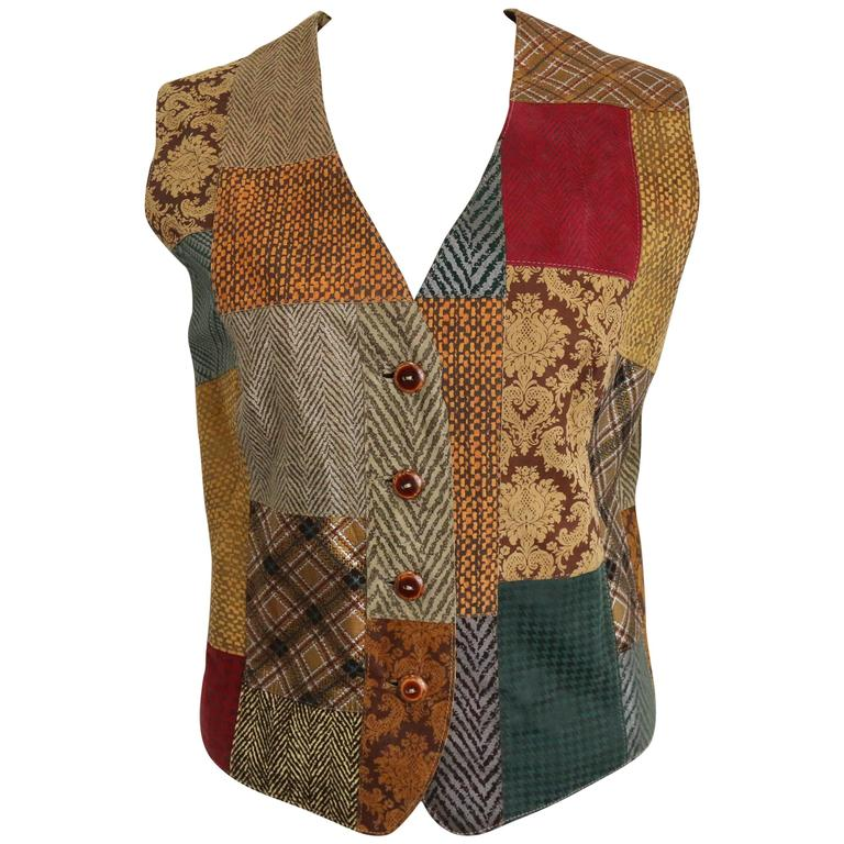 Roberto Cavalli Leather Multi Patterns Patchwork Vest