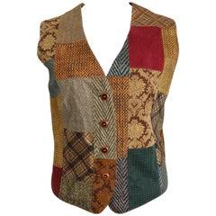 Roberto Cavalli Leather Multi Patterns Patchwork Vest